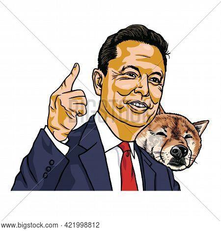 Elon Musk And Doge Dogecoin Shiba Inu Dog Vector Cartoon Portrait Illustration. Los Angeles, May 26,