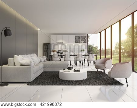 Modern Black And White Living And Dining Room With Garden View 3d Render.the Rooms Have White Tile F