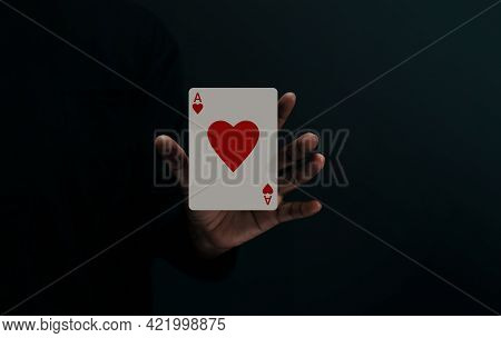 Ace Heart Playing Card. Player Or Magician Levitating Poker Card On Hand. Metaphor Of Love, Happines