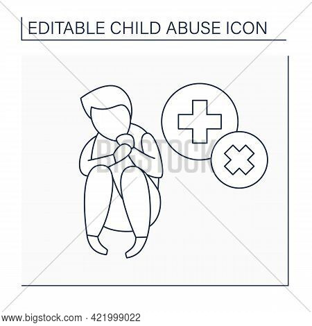 Medical Neglect Line Icon.failure To Provide Adequate Medical Care For Child. Child Abuse Concept. I