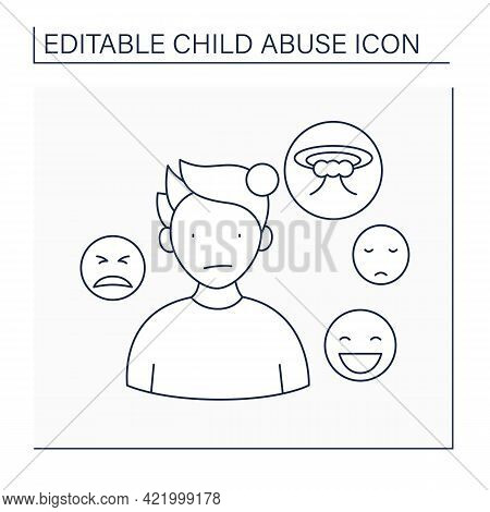 Emotionality Line Icon. Trouble Regulation Emotions. Uncontrolled Mood Changing. Unexplained Anxiety