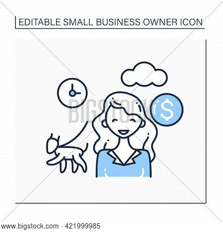 Dog Walking Line Icon. Girl Walking Dogs For Money. Individual Entrepreneur. Small Business Owner Co