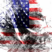 American flag background with a grunge touch poster