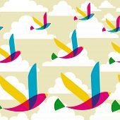 Spring transparency flying birds seamless pattern. Vector file layered for easy manipulation and custom coloring. poster