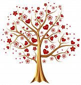Beautiful golden tree with expensive ruby red heart-shaped leafs, and vermeil flowers as jewelry poster