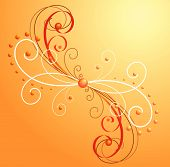 Orange decorative background with curls. Vector illustration. poster