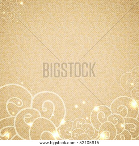 Hand drawn waves at bottom side on beige vintage cardboard texture. Decorated with sparkling lights. Template with space for your text. Vector background. poster