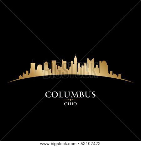 Columbus Ohio City Skyline Silhouette Black Background
