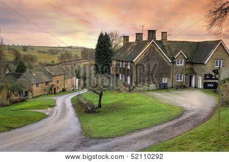 Warwickshire village at sunset