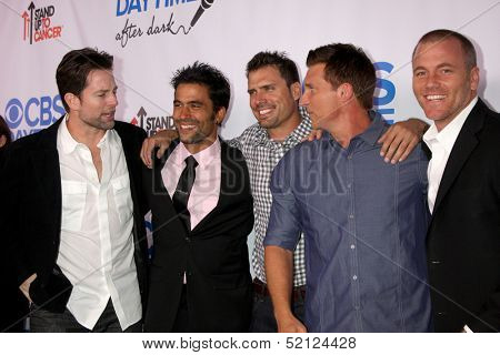 LOS ANGELES - OCT 8:  Michael Muhney, Ignacio Serricchio, Joshua Morrow, Steve Burton, Sean Carrigan at the CBS Daytime After Dark Event at Comedy Store on October 8, 2013 in West Hollywood, CA