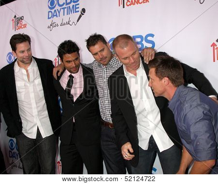 LOS ANGELES - OCT 8:  Michael Muhney, Ignacio Serricchio, Joshua Morrow, Sean Carrigan, Steve Burton at the CBS Daytime After Dark Event at Comedy Store on October 8, 2013 in West Hollywood, CA