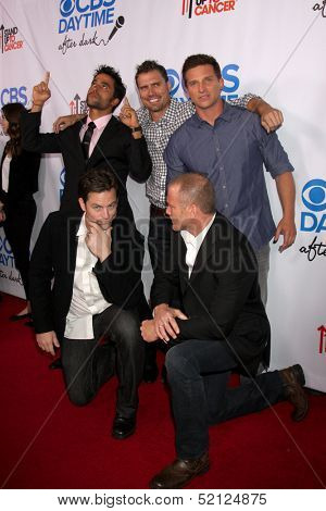 LOS ANGELES - OCT 8:  Ignacio Serricchio, Joshua Morrow, Steve Burton, Michael Muhney, Sean Carrigan at the CBS Daytime After Dark Event at Comedy Store on October 8, 2013 in West Hollywood, CA