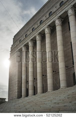Detail of Finnish Parliament house. The unicameral parliament has 200 members and meets in the Parliament House in Helsinki.