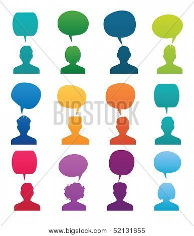 Set Head Silhouette with speech bubble. Colored vector illustration.
