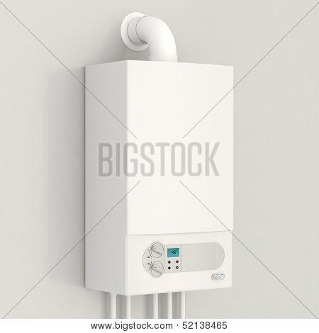 White gas boiler.