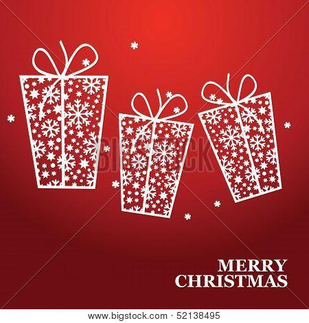 Vector Christmas banner with Christmas gift