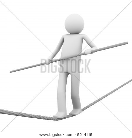 Rope-walking Man With A Pole In Hands