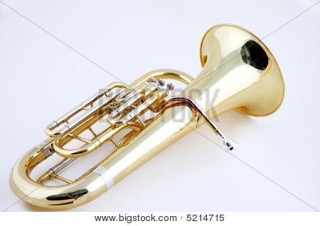 Complete Brass Tuba Euphonium On White