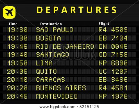 South America departures