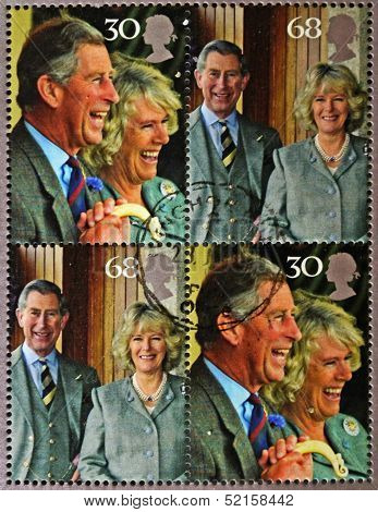 A set of four stamps commemorating wedding the Prince of Wales and Camilla Parker Bowles