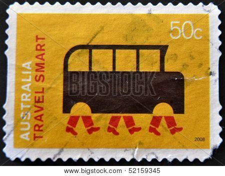 Australia - Circa 2008: A Stamp Printed In Australia Dedicated To A Greener Life, Shows Travel Smart