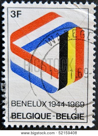 stamp in commemorating 25 years of the Benelux economic union of Belgium Netherlands Luxembourg