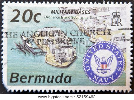 A stamp printed in Bermuda shows military bases ordnance island submarine base