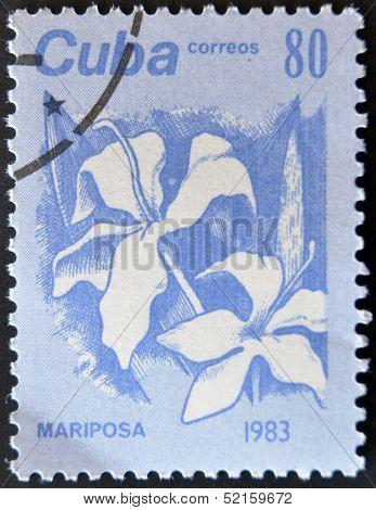 Cuba - Circa 1983: A Stamp Printed In Cuba Shows A Mariposa,  Circa 1983