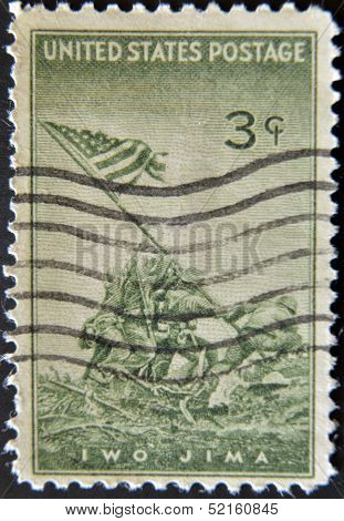 United States Of America - Circa 1945 : A Stamp Printed In The Usa Shows Iwo Jima, Circa 1945