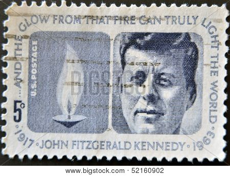 a Stamp Printed In Usa Shows Image Portrait John Fitzgerald  Kennedy Was The 35Th President of USA