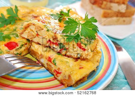 Frittata With Chanterelle,onion,pepper And Parsley