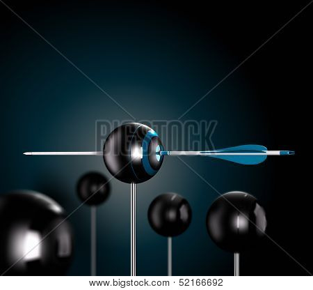 One blue arrow piercing the center of a ball target over a black background symbol of risk control Conceptual 3D render image poster