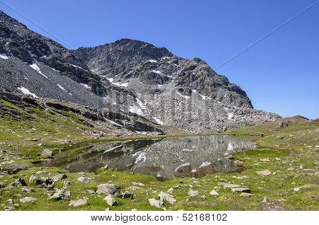 Cuneaz (Aosta Valley) Lake Pinter In Summer