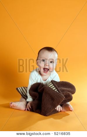 Cute Baby On Yellow