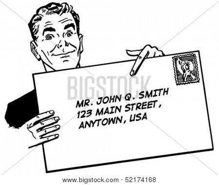 Man With Banner - Retro Clip Art Illustration