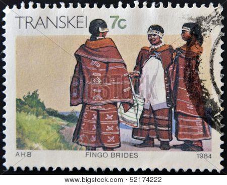 Republic Of South Africa - Circa 1984: A Stamp Printed In Transkei Shows Fingo Brides, Circa 1984