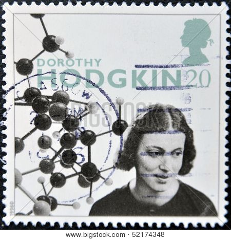 Stamp Shows Dorothy Hodgkin Crowfoot, Was A British chemist credited with the development of protein