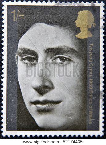 A stamp printed in Great Britain dedicated to investiture of H.R.H. The Prince of Wales