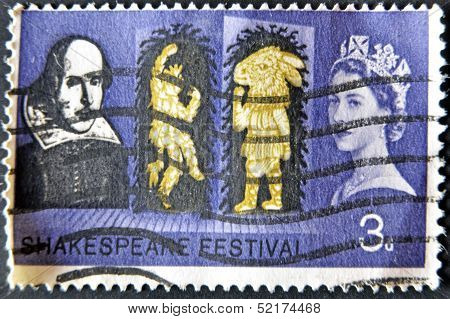 A stamp printed in England is dedicated to the 400th anniversary of William Shakespeare