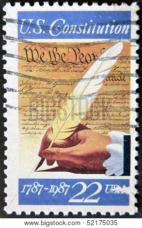 A Stamp Printed In Usa Shows Image Of The Dedicated To The U.s. Constitution 1787-1987