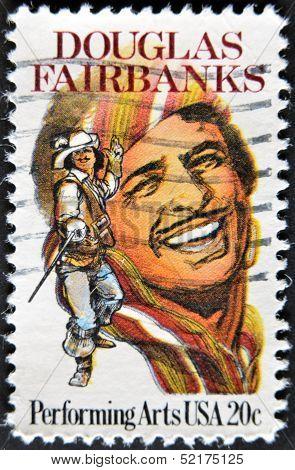 Usa - Circa 1999 : Stamp Printed In Usa Shows Douglas Fairbanks An American Actor, Circa 1999