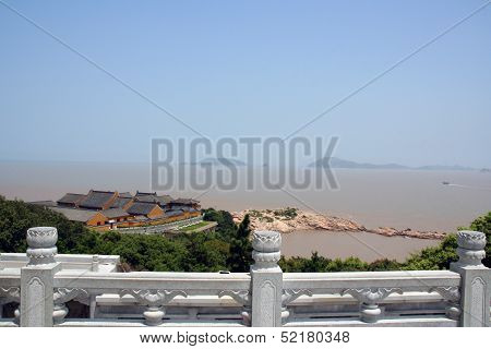 View Of Sea And Buddhist Temple, Putuoshan, China