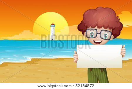 Illustration of a boy at the beach holding an empty signage