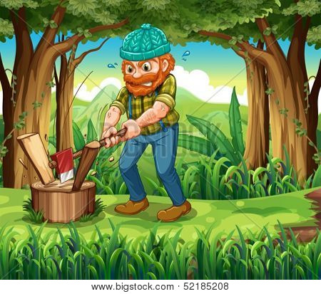 Illustration of a hardworking woodman at the forest