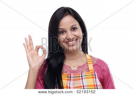 Happy Young Indian Woman Wearing Kitchen Apron
