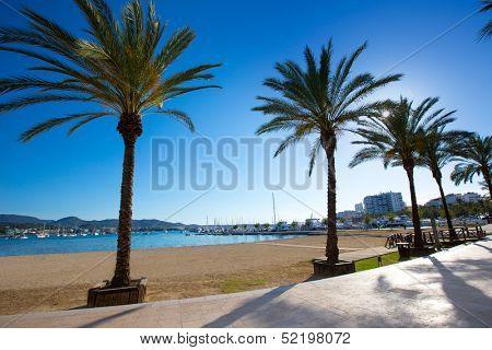 Ibiza san Antonio Abad de Portmany beach in Balearic Islands of spain