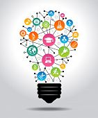 The concept of effective education. Light bulb with colorful education icon. File is saved in AI10 EPS version. This illustration contains a transparency     poster