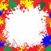 Colorful paint splatter frame with clear background. poster