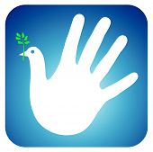 Dove of peace, symbolized by a white hand. poster