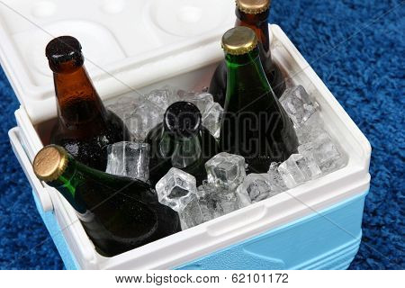 Ice chest full of drinks in bottles on color carpet background
